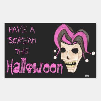 Cráneo malvado del bufón Halloween rosado Etiquetas