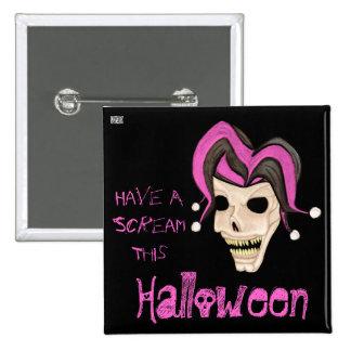 Cráneo malvado del bufón Halloween (rosado) Pin Cuadrada 5 Cm