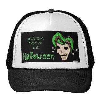 Cráneo malvado del bufón Halloween (verde) Gorro De Camionero