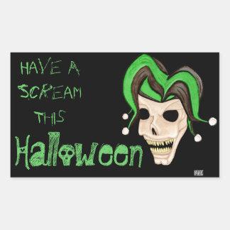 Cráneo malvado del bufón Halloween verde Rectangular Pegatina
