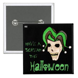 Cráneo malvado del bufón Halloween (verde) Pin Cuadrada 5 Cm
