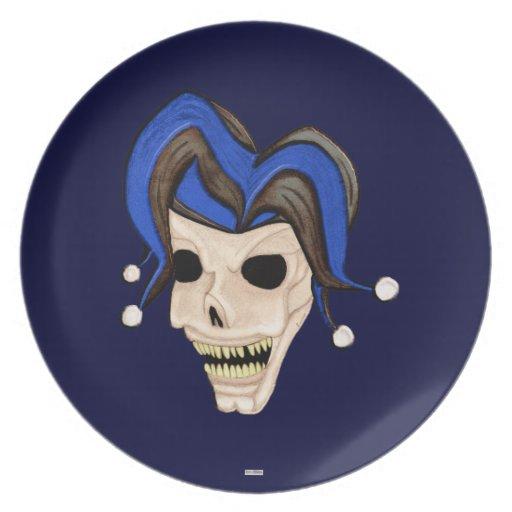 Cráneo malvado del bufón plato para fiesta