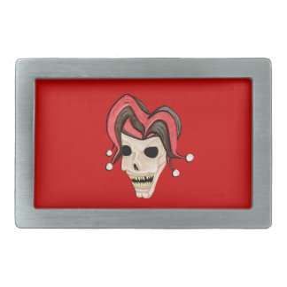 Cráneo malvado del bufón (rojo) hebillas cinturon rectangulares