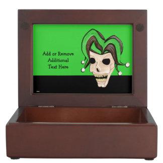 Cráneo malvado del bufón (verde) caja de recuerdos