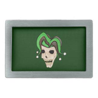 Cráneo malvado del bufón (verde) hebilla de cinturon rectangular