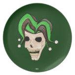 Cráneo malvado del bufón (verde) plato para fiesta