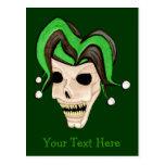 Cráneo malvado del bufón (verde) postal