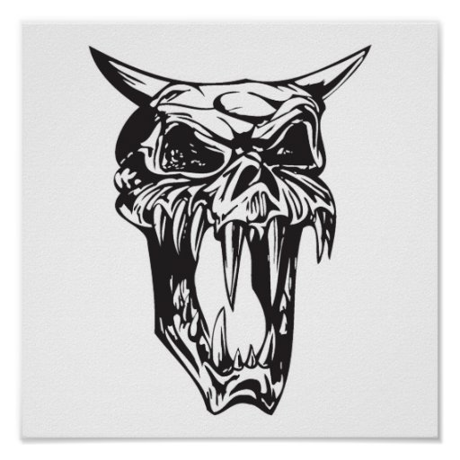 cráneo malvado del demonio impresiones