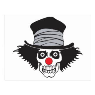 Cráneo malvado del payaso en sombrero de copa tarjetas postales