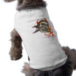 Cráneo malvado del pirata camiseta de mascota