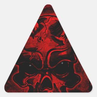 Cráneo malvado pegatina triangular