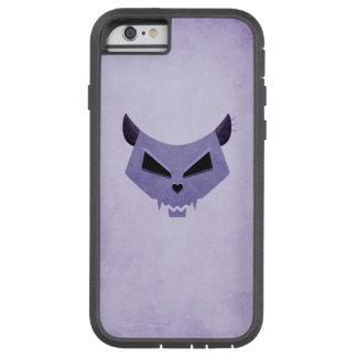 Cráneo malvado púrpura del gato protector funda tough xtreme iPhone 6