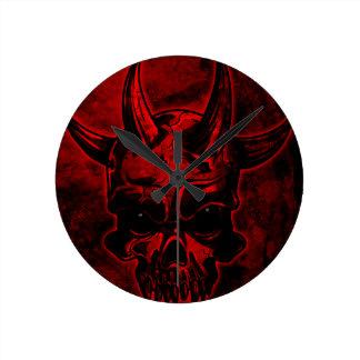 Cráneo malvado reloj de pared