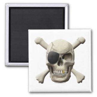Cráneo malvado y bandera pirata del pirata imán cuadrado