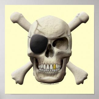 Cráneo malvado y bandera pirata del pirata póster