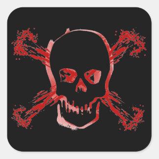 Cráneo manchado sangre y huesos cruzados sangrient calcomania cuadrada personalizada