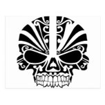 Cráneo maorí de la máscara del tatuaje postales