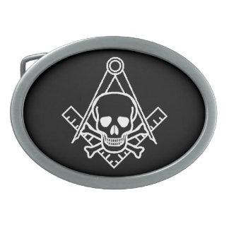 Cráneo masónico y bandera pirata hebillas de cinturón ovales