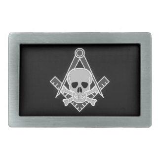 Cráneo masónico y bandera pirata hebillas cinturon rectangulares