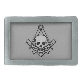 Cráneo masónico y bandera pirata hebillas de cinturón rectangulares