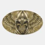 Cráneo medieval gótico del caballero de Templar Calcomania Óval Personalizadas