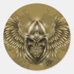 Cráneo medieval gótico del caballero de Templar Etiqueta Redonda