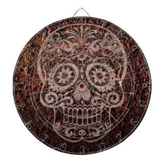 Cráneo, metal oxidado, 04 tabla dardos