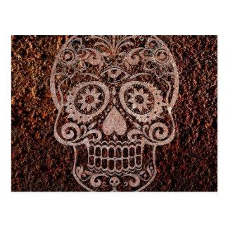 Cráneo, metal oxidado, 04 tarjeta postal