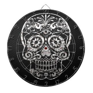 Cráneo, metal plateado negro 04 tablero dardos