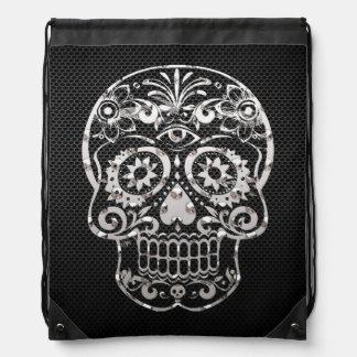 Cráneo metal plateado negro 04 mochila