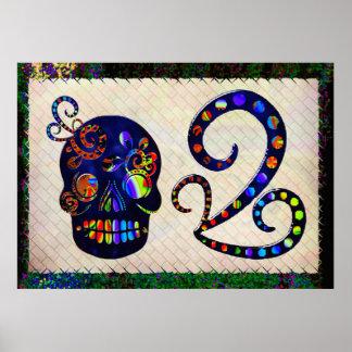 Cráneo mexicano 3D festivo Posters