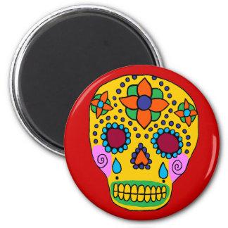 Cráneo mexicano del azúcar del arte popular imán redondo 5 cm
