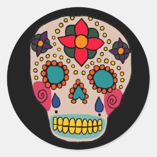 Cráneo mexicano del azúcar del arte popular pegatina redonda