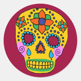 Cráneo mexicano del azúcar del arte popular etiquetas redondas