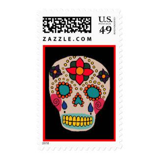 Cráneo mexicano del azúcar del arte popular sellos