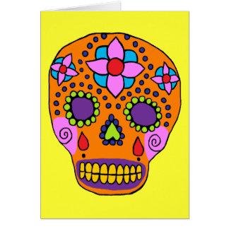 Cráneo mexicano del azúcar del arte popular tarjeta de felicitación