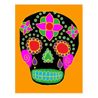Cráneo mexicano del azúcar del arte popular tarjeta postal