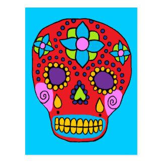 Cráneo mexicano del azúcar del arte popular postal