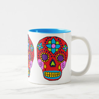Cráneo mexicano del azúcar del arte popular taza de café de dos colores