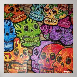 Cráneo mexicano del azúcar del poster (enmarcado)