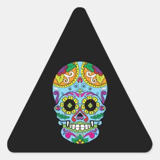 Cráneo mexicano del azúcar del tatuaje de las pegatina triangular