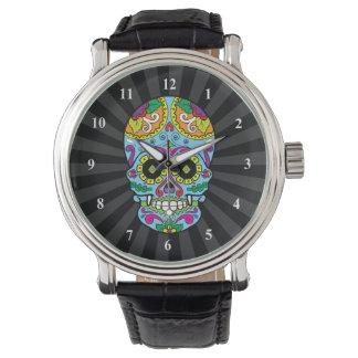 Cráneo mexicano del azúcar del tatuaje de las relojes