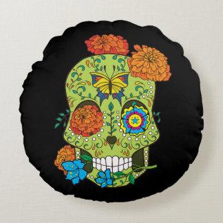 Cráneo mexicano del azúcar del tatuaje subió en cojín redondo