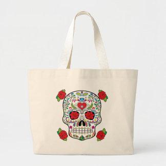 Cráneo mexicano del azúcar del tatuaje y rosas bolsa tela grande
