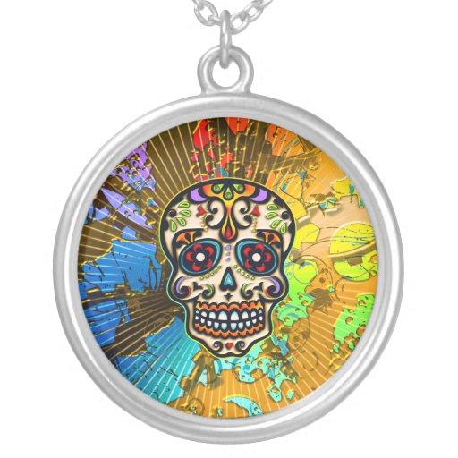 Cráneo mexicano del azúcar, día de los muertos colgante personalizado