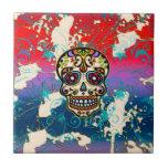 Cráneo mexicano del azúcar, día de los muertos, or teja