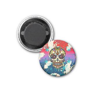 Cráneo mexicano del azúcar día de los muertos or imán para frigorífico