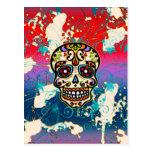 Cráneo mexicano del azúcar, día de los muertos, or postales