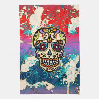 Cráneo mexicano del azúcar, día de los muertos, or toallas de mano