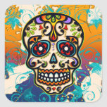 Cráneo mexicano del azúcar, día de los muertos etiqueta